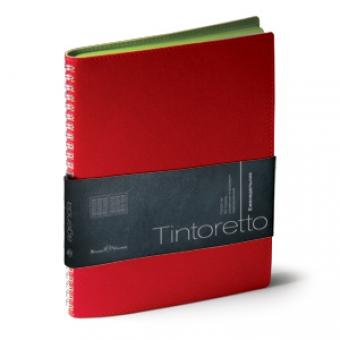 Еженедельник недатированный Tintoretto, B5, красный, белый блок, зеленый обрез