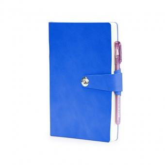 Ежедневник недатированный Primavera, А5, синий, бежевый блок, ляссе, хлясик на кнопке, петля д/ручки