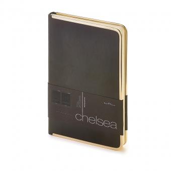 Ежедневник недатированный Chelsea, А5, черный, бежевый блок, золотой обрез, ляссе