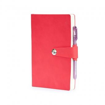 Ежедневник недатированный Primavera, А5, красный, бежевый блок, ляссе