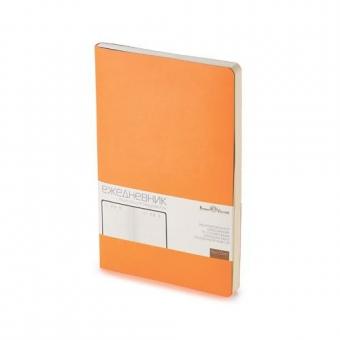 Ежедневник недатированный Megapolis Flex, А5, оранжевый, бежевый блок, без обреза