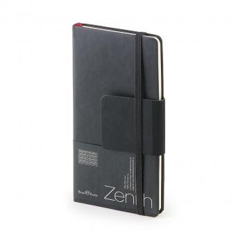 Еженедельник недатированный Zenith, B7, черный, бежевый блок, без обреза, ляссе
