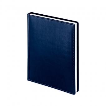 Ежедневник недатированный Velvet, А6+, синий navy, белый блок, без обреза, ляссе