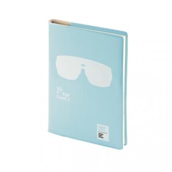 Ежедневник недатированный Crazy, А5, голубой, бежевый блок, без обреза, ляссе