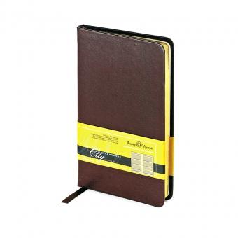 Еженедельник недатированный City, коричневый, А6, бежевый блок, золотой обрез, ляссе