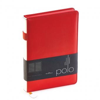Ежедневник недатированный Polo, А5, красный, белый блок, красный обрез, ляссе, шильд