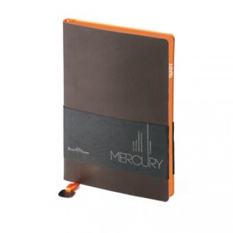 Ежедневник недатированный Mercury, А6, коричневый, белый блок, оранжевый обрез, два ляссе