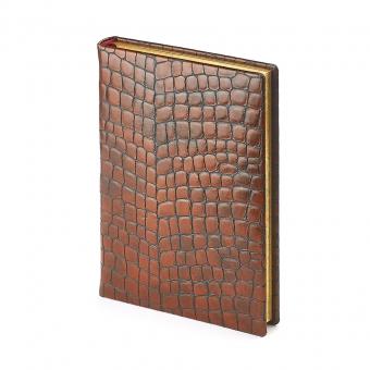 Ежедневник полудатированный York, А5+, коричневый, бежевый блок, золотой обрез, два ляссе