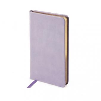 Еженедельник недатированный Megapolis Velvet, А6, фиолетовый, бежевый блок, золотой обрез, ляссе