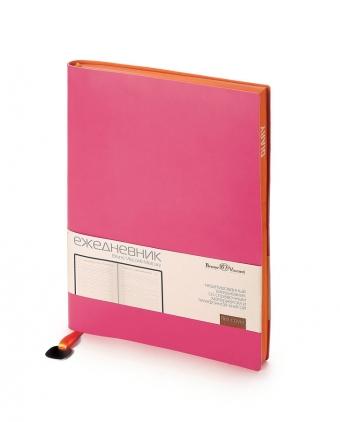 Ежедневник недатированный Mercury, фуксия, А5, белый блок, оранжевый обрез, ляссе с шильдом