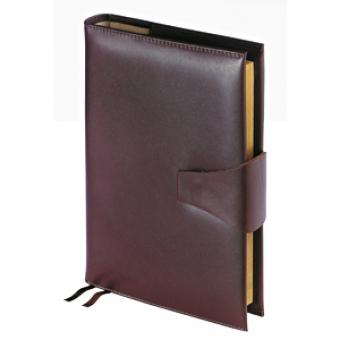 Ежедневник полудатированный Windsor, А5+, коричневый, бежевый блок, золотой обрез, два ляссе, карта,