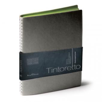 Еженедельник недатированный Tintoretto, B5, серый, бежевый блок, зеленый обрез