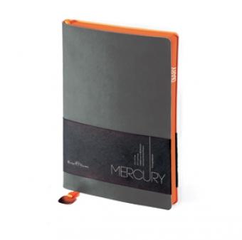 Ежедневник недатированный Mercury, серый, А5, белый блок, оранжевый обрез, ляссе с шильдом