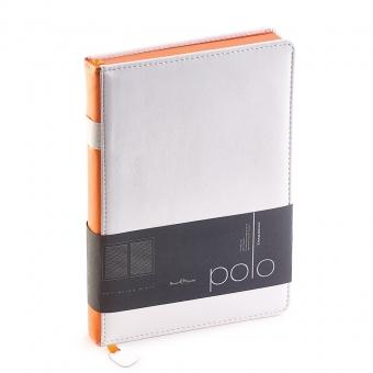 Ежедневник недатированный Polo, А5, белый, белый блок, оранжевый обрез, ляссе, шильд
