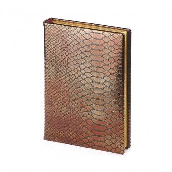Ежедневник полудатированный Strada, А5+, бронзовый, бежевый блок, золотой обрез, два ляссе