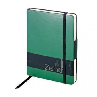 Ежедневник недатированный Zenith, зеленый, В6, бежевый блок, без обреза, ляссе, на резинке