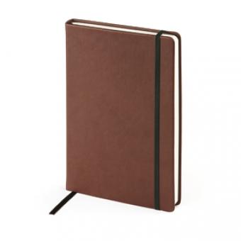 Ежедневник недатированный Megapolis Velvet, А5, коричневый, бежевый блок, без обреза, ляссе