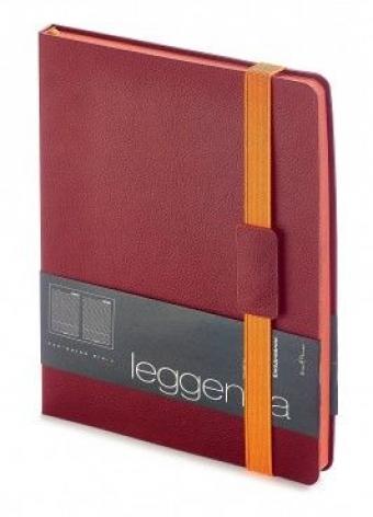 Ежедневник недатированный Leggenda, B5, бордовый, бежевый блок, оранжевый обрез, ляссе