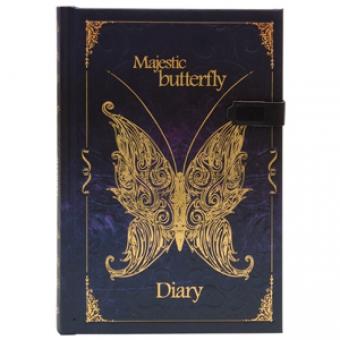 Ежедневник полудатированный Бабочки.Фантазия, А5-, фиолетовый, бежевый блок, золотой обрез, ляссе
