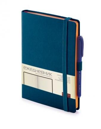 Ежедневник недатированный Monaco, А5, синий, бежевый блок, оранжевый обрез, ляссе