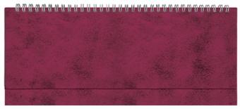 Планинг недатированный, Бумвинил, бордовый, 295х100 мм, белый блок, открытый гребень