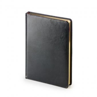 Ежедневник датированный Sidney Nebraska, А5, черный, белый блок, золотой обрез, ляссе