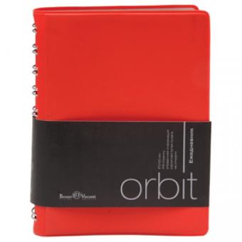 Ежедневник полудатированный Orbit, А6, красный, белый блок, серебряный обрез, без ляссе