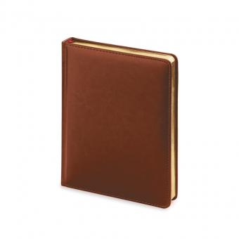 Ежедневник недатированный Sidney Nebraska, А6+, коричневый, белый блок, золотой обрез, ляссе