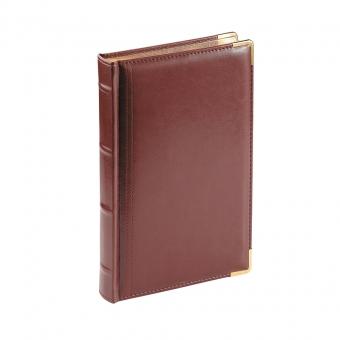 Ежедневник полудатированный Boss, коричневый, А5, белый блок, золотой обрез, ляссе, карта