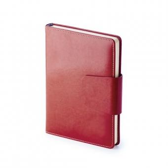 Ежедневник недатированный Prestige, А5, красный, бежевый блок, без обреза, ляссе, магнитный клапан