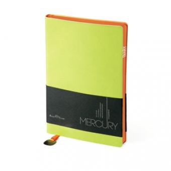 Ежедневник недатированный Mercury, салатовый, А5, белый блок, оранжевый обрез, ляссе с шильдом