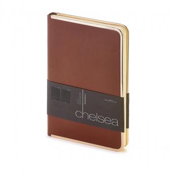 Ежедневник недатированный Chelsea, А5, коричневый, бежевый блок, золотой обрез, ляссе