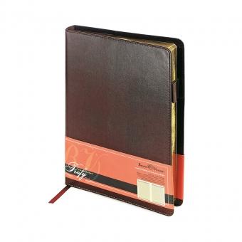 Ежедневник портфолио полудатированный Profy, А5, коричневый, бежевый блок, золотой обреза, ляссе