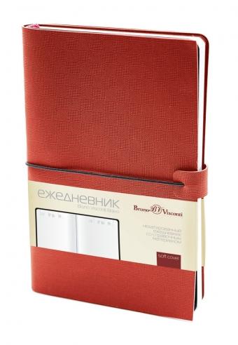 Ежедневник недатированный Bravo, красный, А5, белый блок, без обреза, ляссе