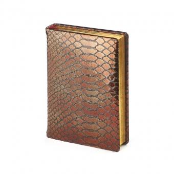 Ежедневник полудатированный Strada, А6+, бронзовый, бежевый блок, золотой обрез, два ляссе