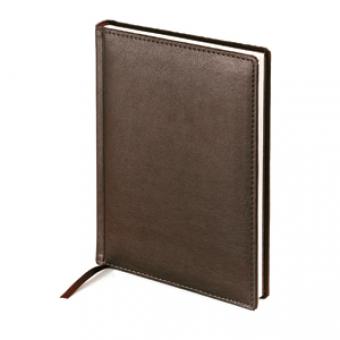 Ежедневник недатированный Leader, А5, коричневый, белый блок, без обреза