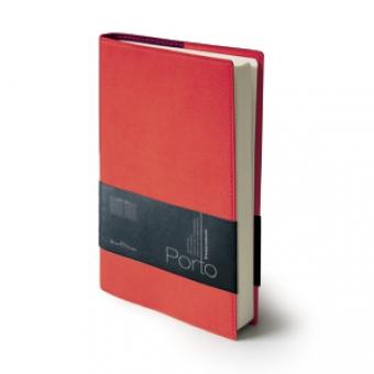 Ежедневник портфолио полудатированный Porto, А5, красный, бежевый блок, без обреза,