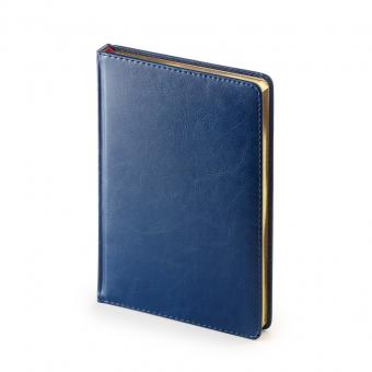 Ежедневник недатированный Sidney Nebraska, А5, синий, белый блок, золотой обрез, ляссе