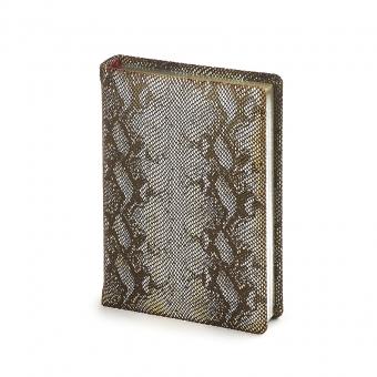 Ежедневник полудатированный Cleopatra, А6+, бронзовый, бежевый блок, серебряный обрез, два ляссе
