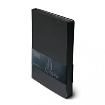 Ежедневник недатированный New Citizen, А5, черный, белый блок, черный обрез, ляссе