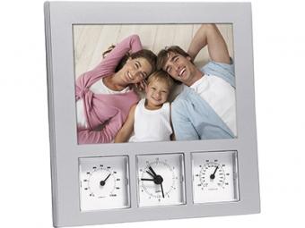 Погодная станция: часы, термометр, гигрометр и рамка для фотографии 10х15 см