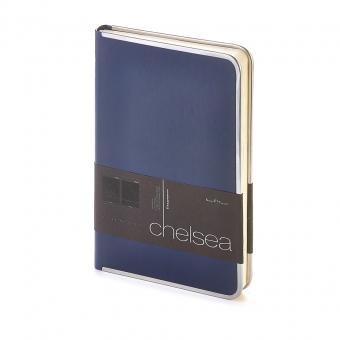 Ежедневник недатированный Chelsea, А5, синий, бежевый блок, серебряный обрез, ляссе