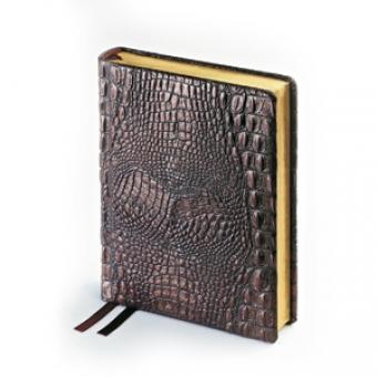 Ежедневник полудатированный Alligator, А6+, коричневый, бежевый блок, золотой обрез, два ляссе
