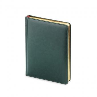 Ежедневник недатированный Sidney Nebraska, А6+, зеленый, белый блок, золотой обрез, ляссе