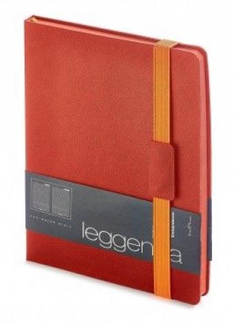 Ежедневник недатированный Leggenda, B5, красный, бежевый блок, оранжевый обрез, ляссе