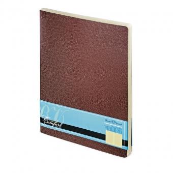Ежедневник недатированный Comfort, А4, коричневый, бежевый блок, без обреза, ляссе