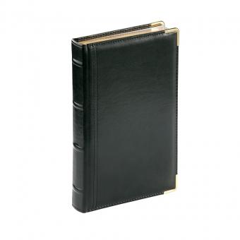 Ежедневник полудатированный Boss, черный, А5, белый блок, золотой обрез, ляссе, карта