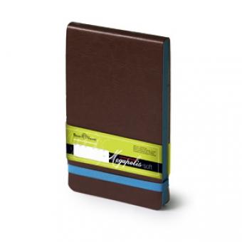 Еженедельник  датированный Megapolis Soft, А6, коричневый, бежевый блок, без обреза, ляссе