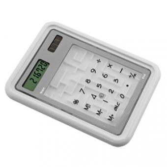 "Калькулятор с игрой ""Лабиринт""; белый; 10х14х1см; пластик; тампопечать"