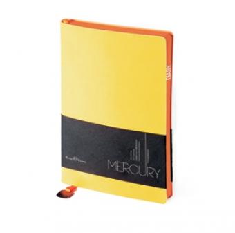 Ежедневник недатированный Mercury, желтый, А5, белый блок, оранжевый обрез, ляссе с шильдом